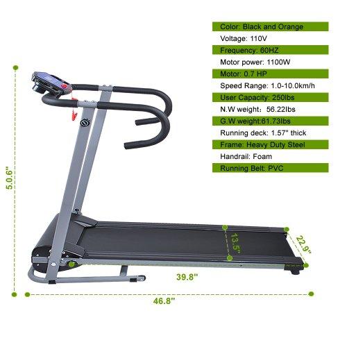 Goplus 500w Folding Portable Electric Treadmill Black