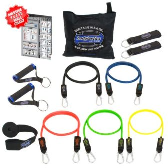 Bodylastics-12-pcs-Snap-Guard-Resistance-Bands-Set-with-5-Stackable-anti-snap-exercise-tubes-Heavy-Duty-components-carrying-case-massive-3x4-ft-Wall-Chart-and-FREE-3-month-access-to-over-2000-full-len-0
