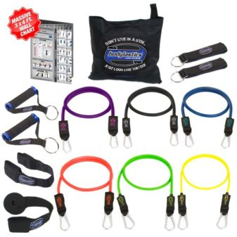 Bodylastics-14-pcs-Snap-Guard-Resistance-Bands-Set-with-6-Stackable-anti-snap-exercise-tubes-Heavy-Duty-components-carrying-case-massive-3x4-ft-Wall-Chart-and-FREE-3-month-access-to-over-2000-full-len-0