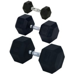 Champion-Rubber-Encased-Solid-Hex-Dumbbell-55-Pound-0