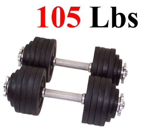 One-Pair-of-Adjustable-Dumbbells-Cast-Iron-Total-105-Lbs-2-X-525-Lbs-0