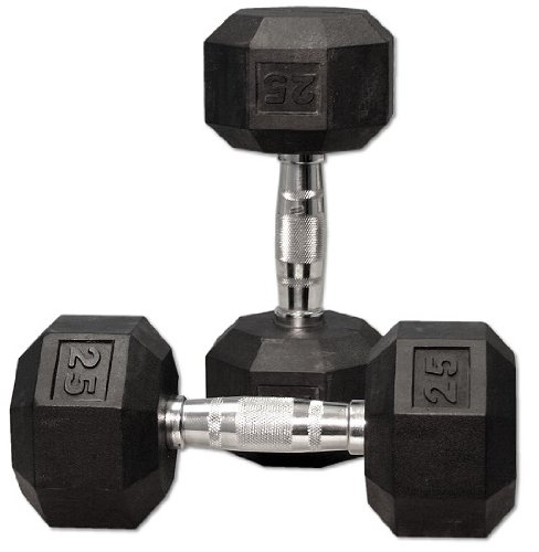 25 Lbs Dumbbell Set: Ader Rubber Coated Hex Dumbbell Set 5-25 Lbs
