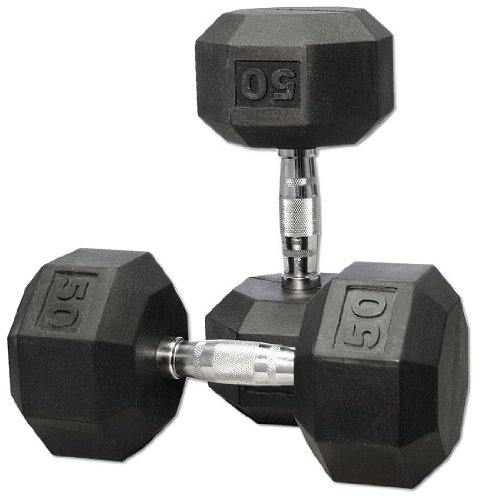 Dumbbell Set Up To 50: York Rubber Coated Hex Dumbbell Set 5-50 Lbs.