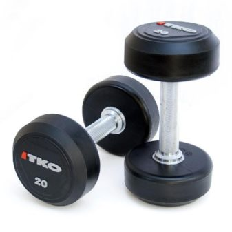 Solid-Steel-Urethane-Coated-Dumbbells-with-Tri-Grip-Handle-Set-45-lbs-0